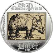 2013 Cook Is Large Silver Color Proof $5-Durer-Rhino;