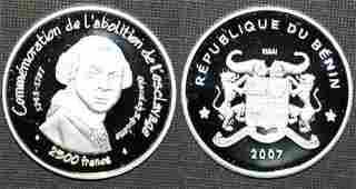 Rare 2007 Benin Silver 2500 fr essai pattern Abolition