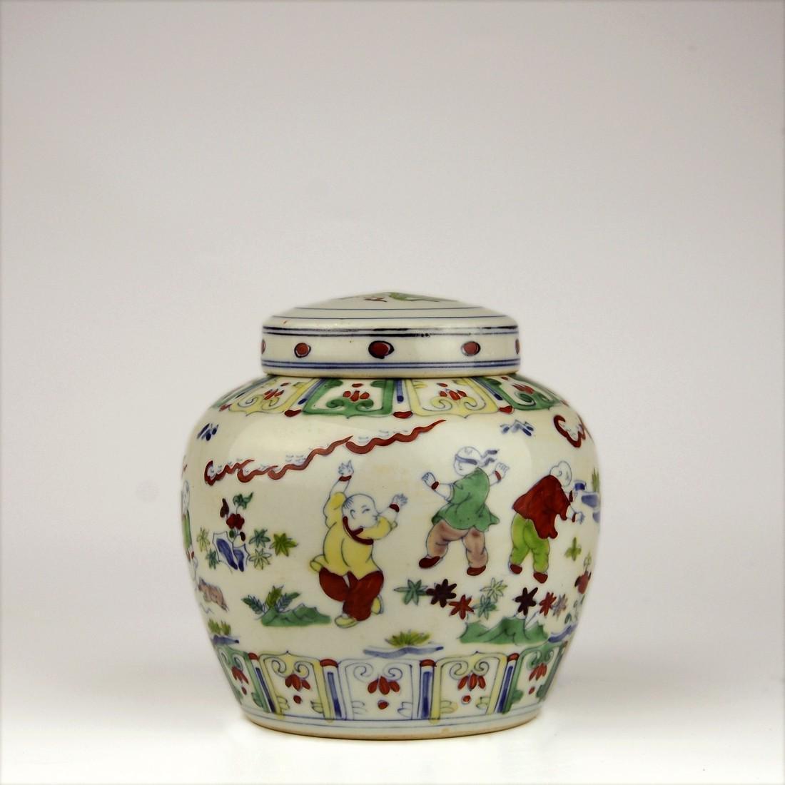 China Pastel Porcelain Jars-Ancient Children's Playful