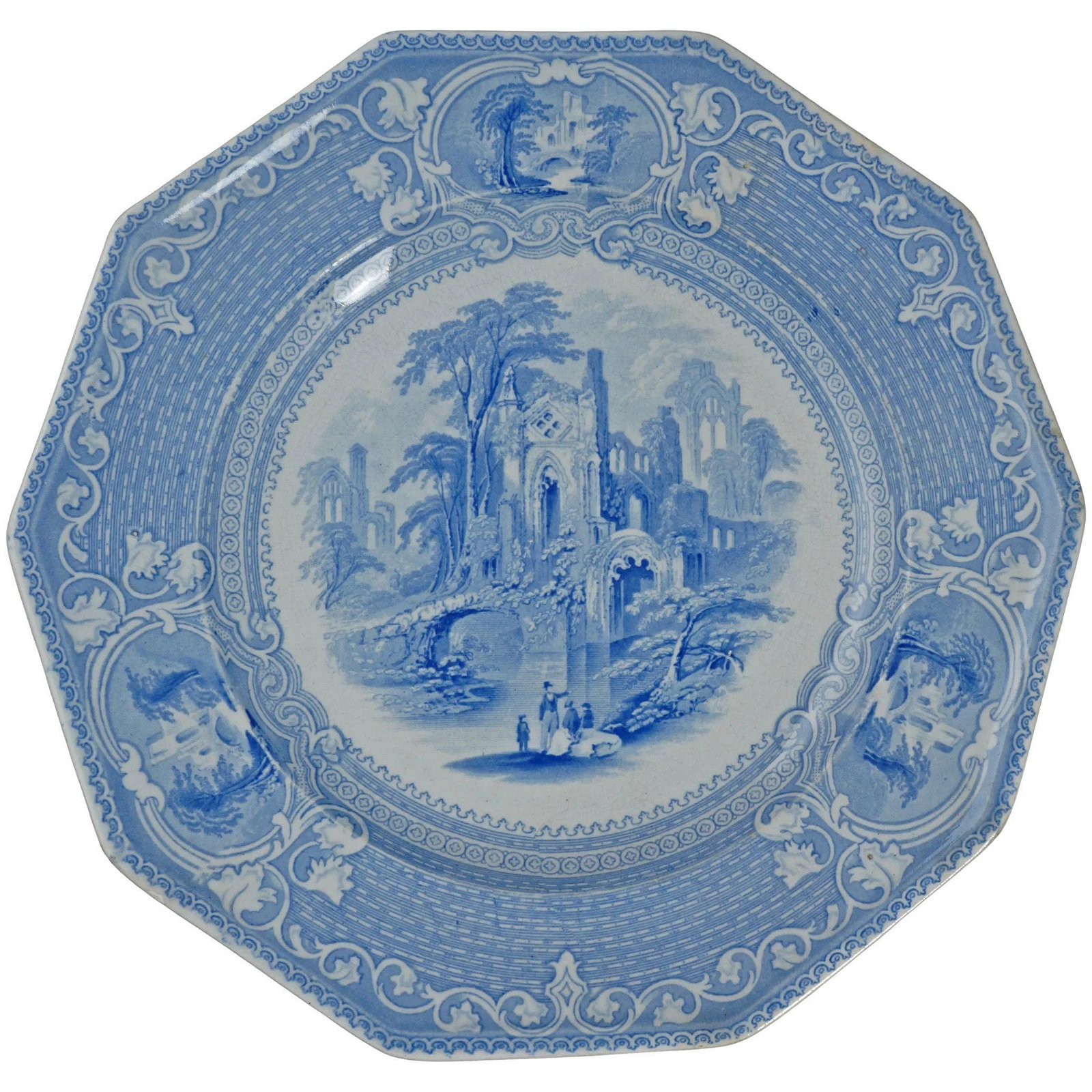 19th C Staffordshire Transferware Plate Abbey Pattern
