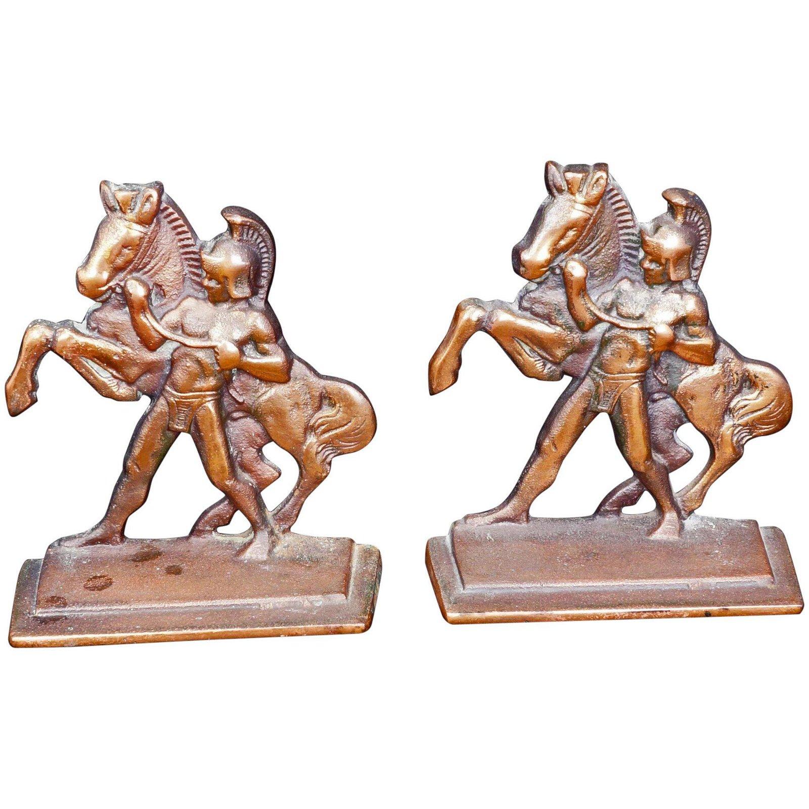 Pair Roman Horseman Iron Bookends Littco c1928