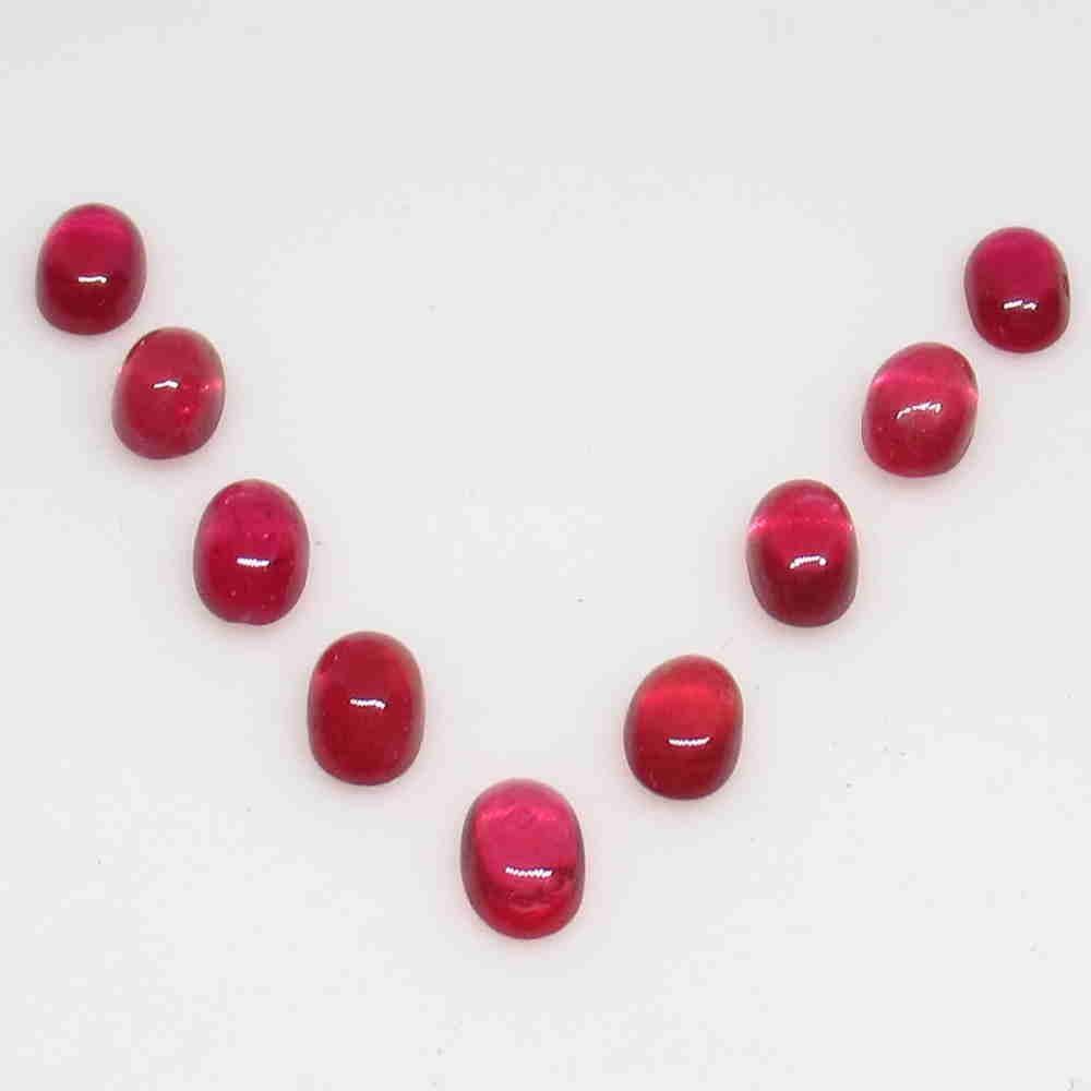 7.23 Ctw Natural 9 Red Ruby Oval Necklace Set