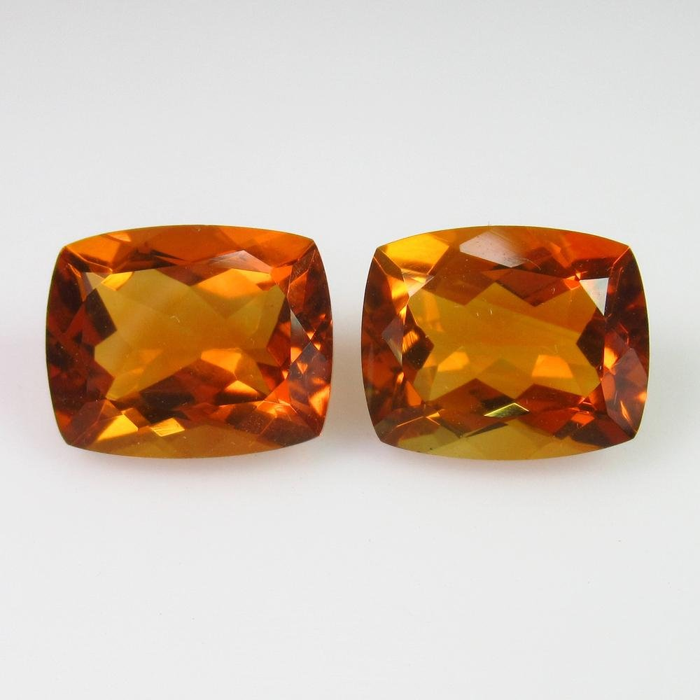 8.42 Ct Natural Orange Yellow Citrine Cushion Pair