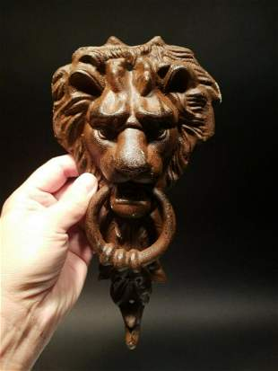 Cast Iron Lion Door Knocker w Hook