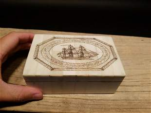Folk Art Sail Ship Scrimshaw Etched Bone Wood Trinket