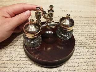 Brass Hardwood w 2 Clear Glass Inkwell bottles pots