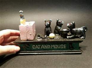 Cast Iron Cat and Mouse Mechanical Coin Bank