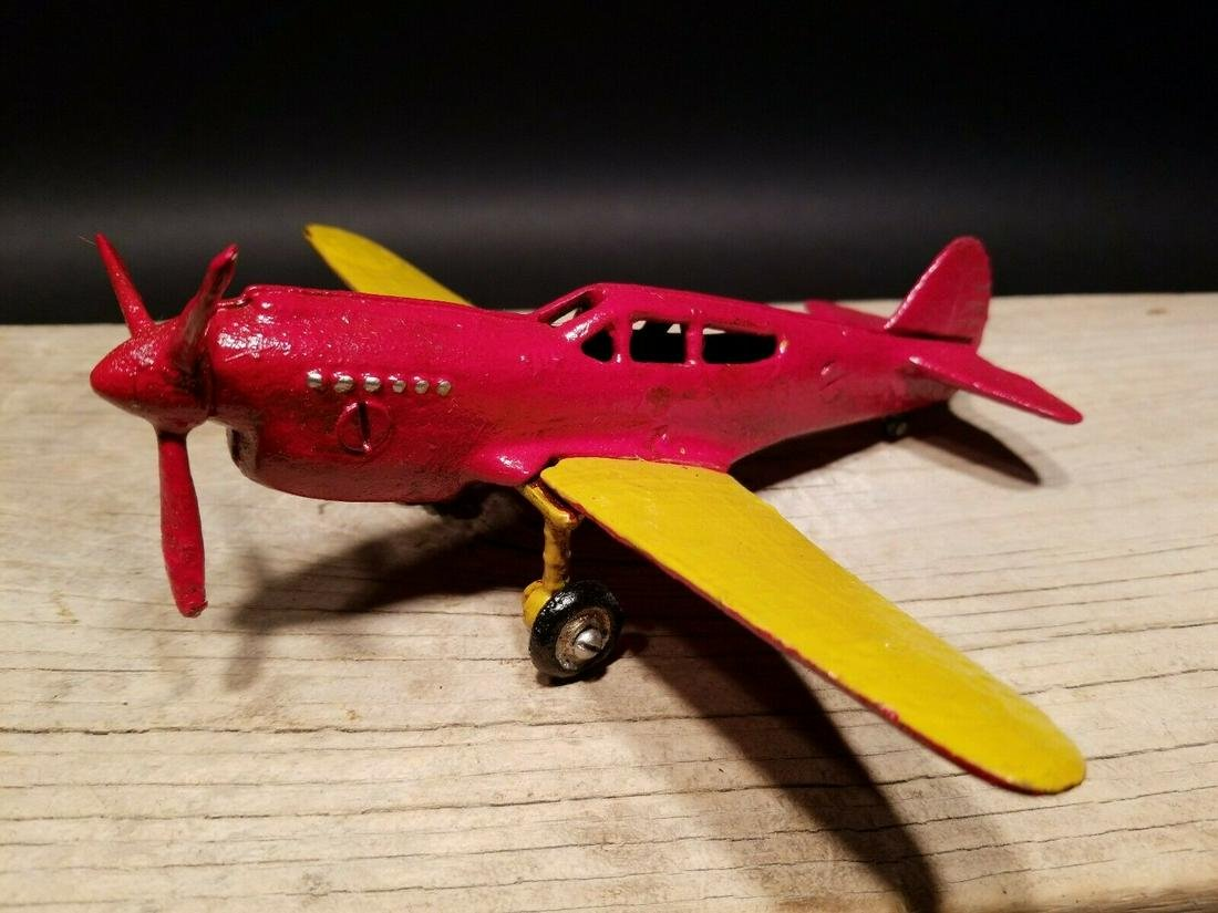 Cast Iron Red & Yellow Airplane Toy