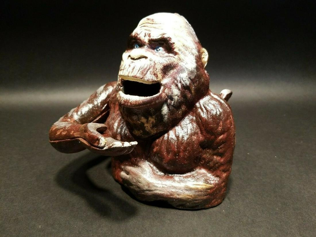 Cast Iron Bigfoot Sasquatch Mechanical Coin Bank