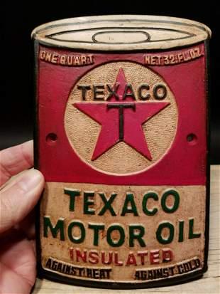 Cast Iron Texaco Motor Oil Sign Plaque