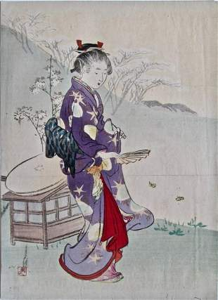 Artist Ogata GEKKO Subject Woman and butterflies