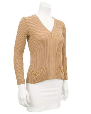 Marelli Tan zip front ribbed cardigan with gold chain