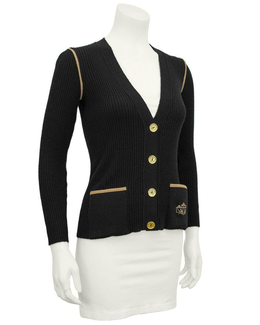Marelli Black wool ribbed cardigan with tan accents