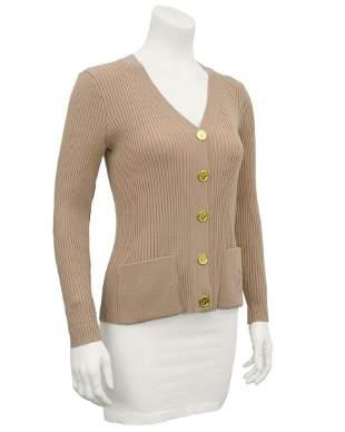 Marelli Camel colour ribbed knit cardigan