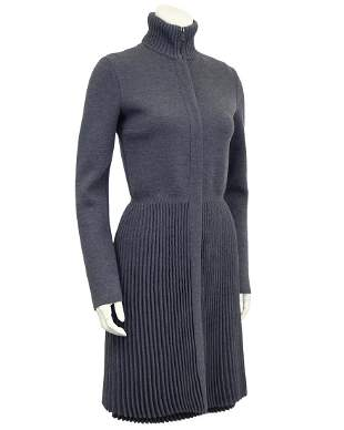 Valentino Grey micro pleated jacket and dress set