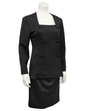 Christian Dior Black fine wool tuxedo dress