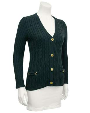 Celine Green cable knit cardigan
