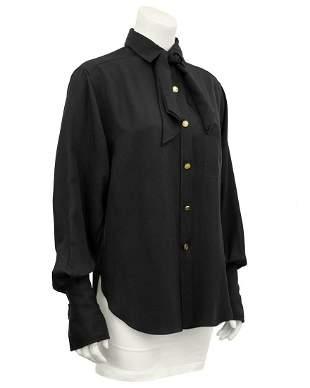 Chanel Black silk shirt with necktie