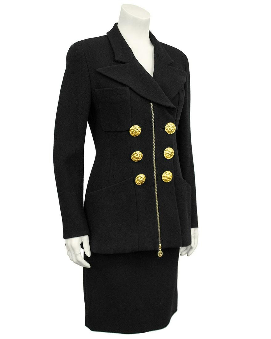 Chanel Black wool skirt suit with large gold buttons