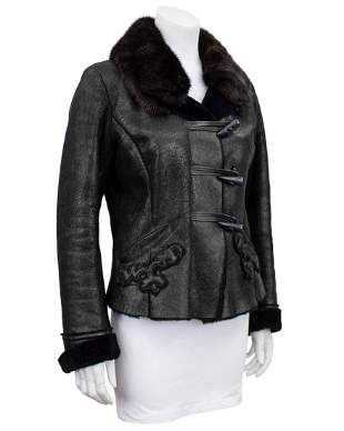 Prada Black fitted and cropped shearling jacket