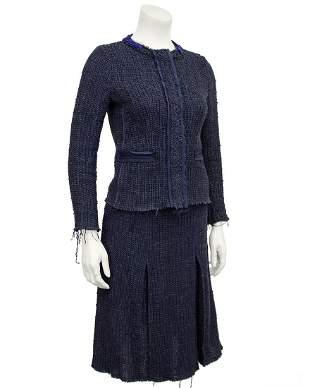 Prada Blue raw edge knit tweed skirt suit