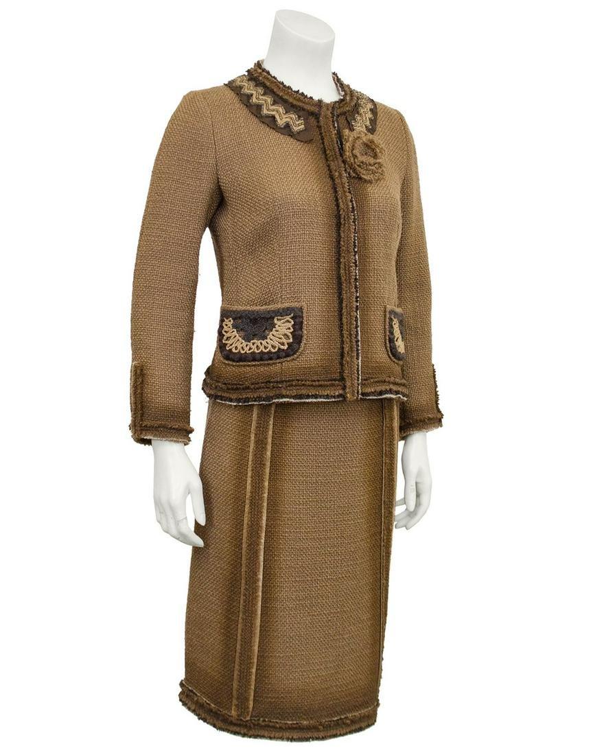 Prada  Tan woven linen boucle suit with macrame details