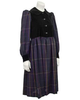 Yves Saint Laurent Purple tartan and black velvet