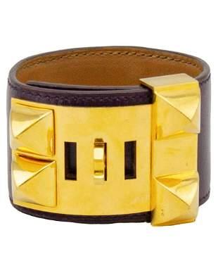 Hermes Purple box leather collier de chien cuff