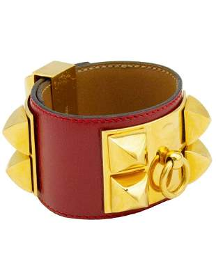 Hermes Red leather collier de chien bracelet cuff