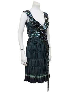 Prada Grey sequin ruched pleated cocktail dress