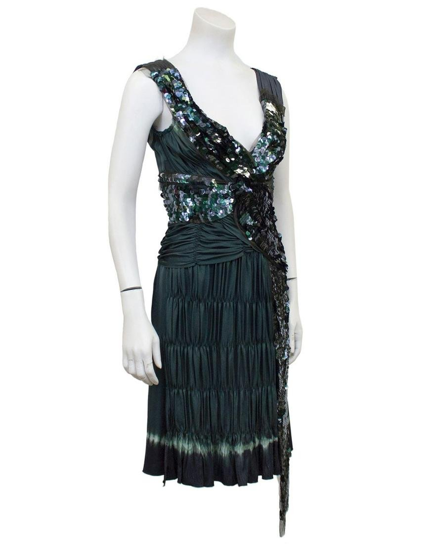 Prada  Grey sequin & ruched pleated cocktail dress