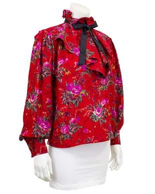 Ungaro Red floral shirt with necktie