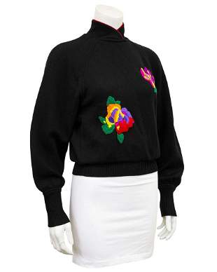 Ungaro Black wool knit sweater with oversewn florals