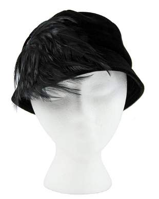 Saks Fifth Avenue Black cloche hat with feather