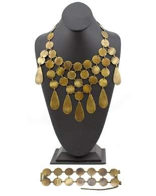 Celine Bronzed metal coin necklace and bracelet set