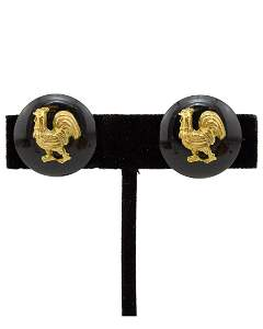 Chanel 1994 autumn chanel black earrings with gilt