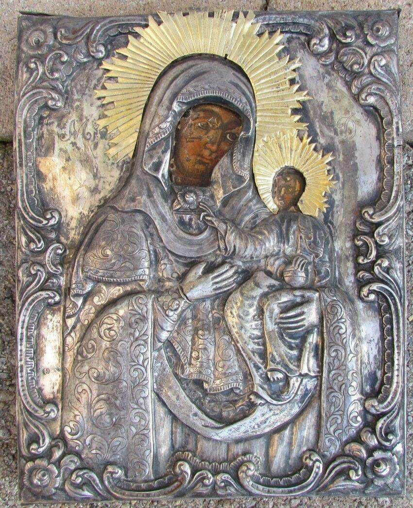 early 19th CENTURY ANTIQUE GREEK ICON of MOTHER of GOD