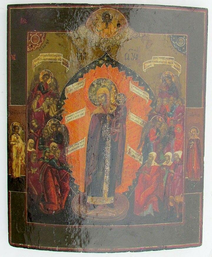 Early 19th CENTURY LARGE ANTIQUE RUSSIAN ICON of MOTHER