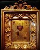 Antique 19c Russian icon of St.Nicholas & kiot