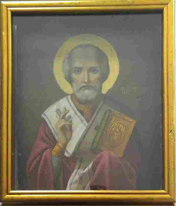 Antique 19c Russian icon if St Nicholas with Kiot
