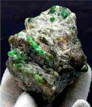 Emerald Specimen , Natural Emerald Crystals on Matrix ,