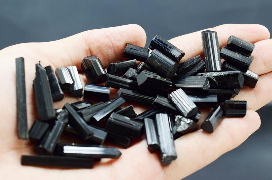 Black Tourmaline Crystal , Schrol Natural Black