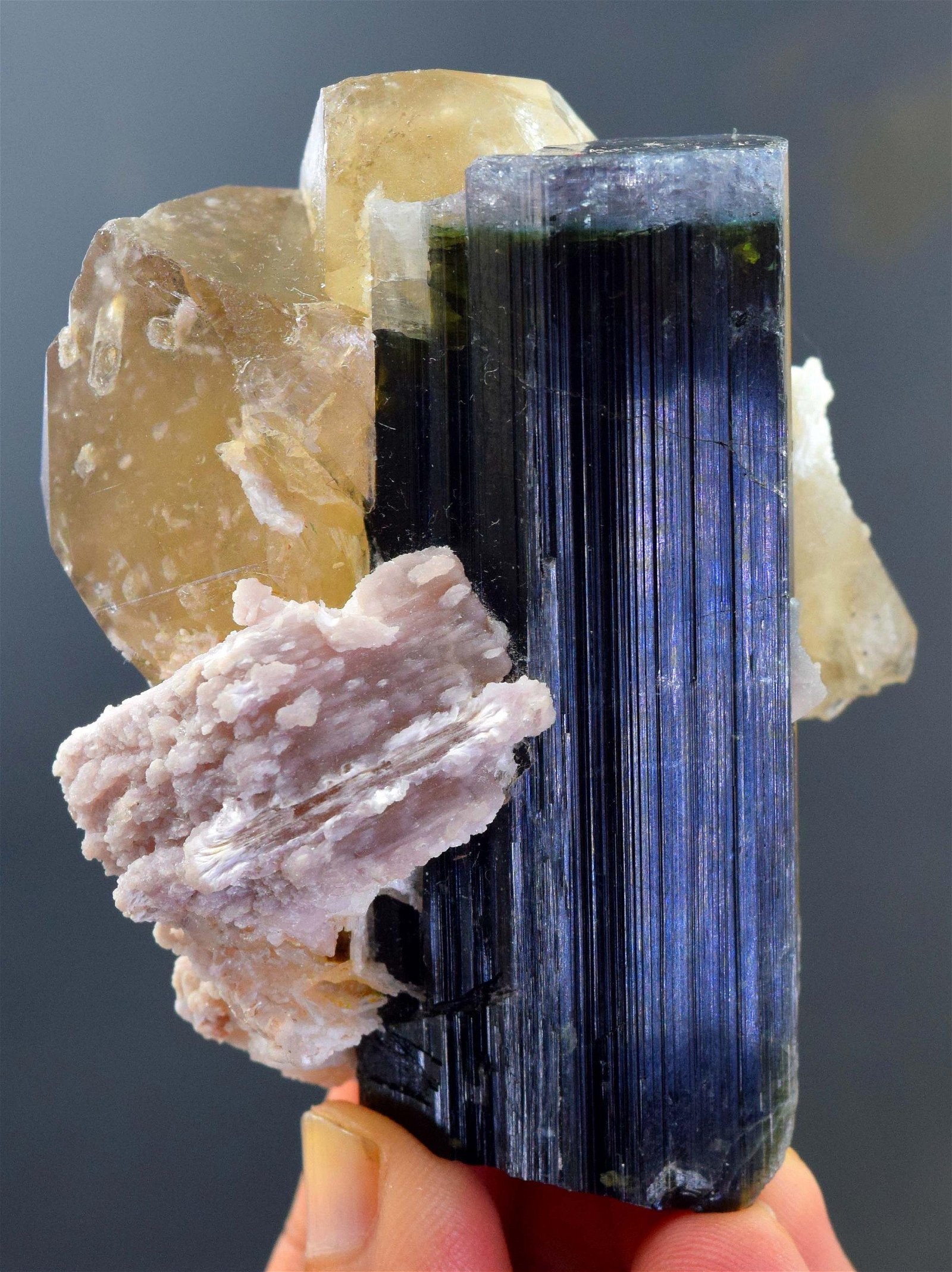 205 Gram Blue Cap Tourmaline with Pink Lepidolite &