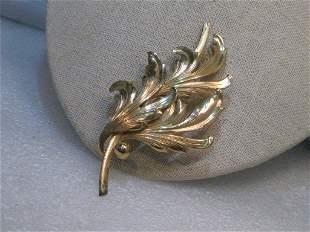 1940s Sterling Forstner Leaf Brooch Vermeil Layered