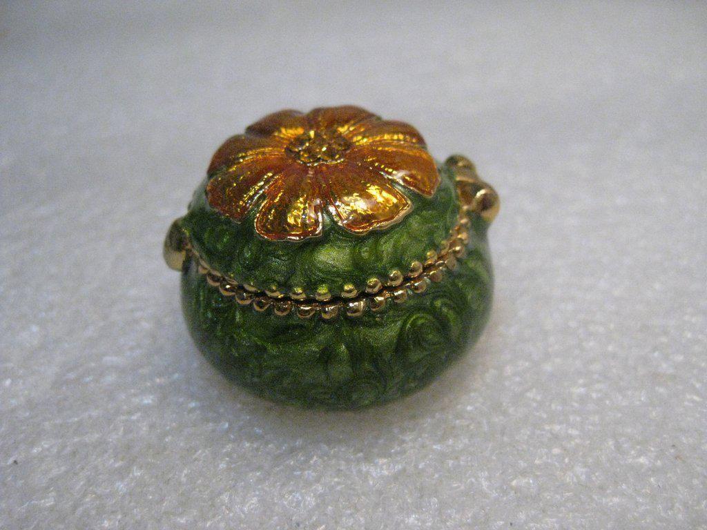 Green Enameled Hinged Trinket Box Floral Orange