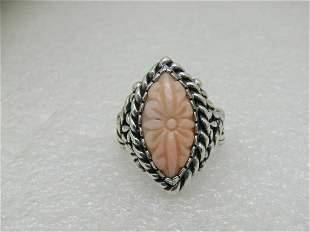 Sterling Carolyn Pollack Carved Flower Ring, Pink