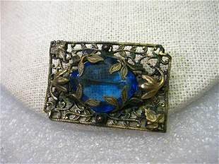 True Vintage Victorian Floral Filigree Brooch, Blue