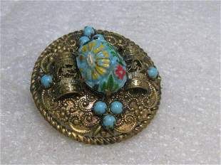Victorian Czech Floral Glass Brooch, Rolled & Scrolled,