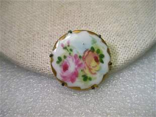 Victorian Hand Painted Porcelain Round Brooch, Double