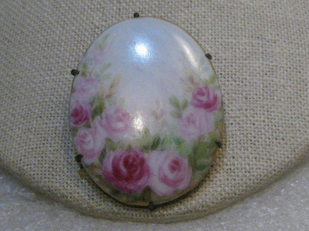 """Victorian Painted Roses Porcelain Floral Brooch, 1.75"""""""